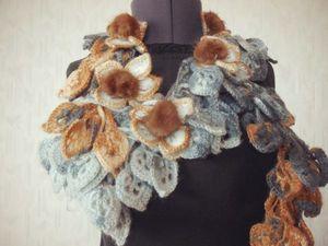 Оригинальные шарфики с мехом норки и вязаными цветами!!! скидки!!. Ярмарка Мастеров - ручная работа, handmade.