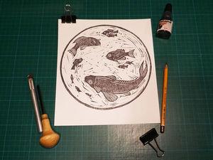 Линогравюра для начинающих с использованием бюджетных материалов и инструментов. Ярмарка Мастеров - ручная работа, handmade.