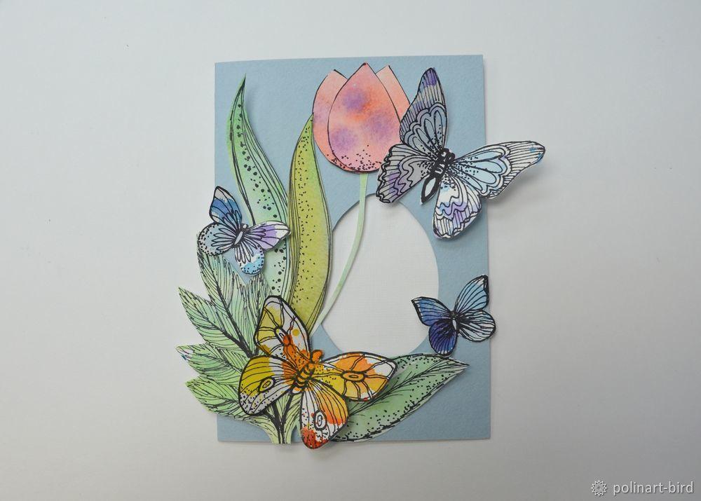 Как сделать открытку с бабочкой