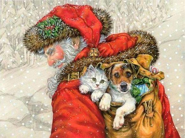 Собачки на Новогодних открытках разного времени | Ярмарка Мастеров - ручная работа, handmade