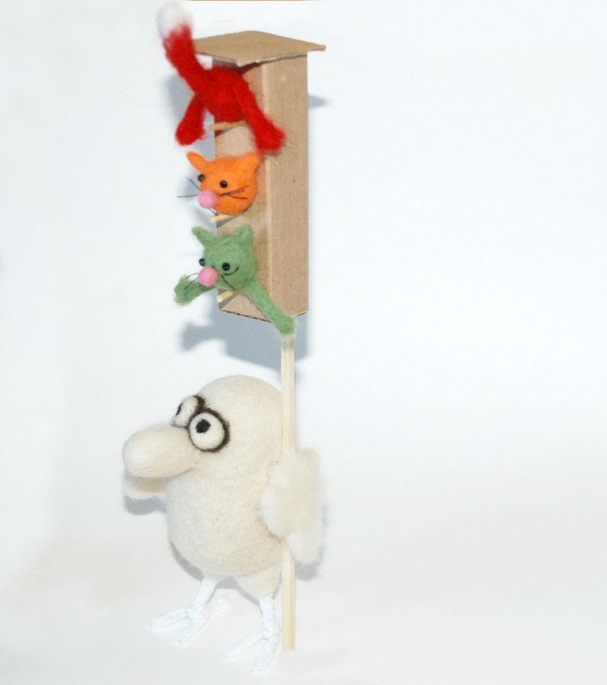 валяная игрушка, ручная работа, коты, валяная птичка, 1 апреля
