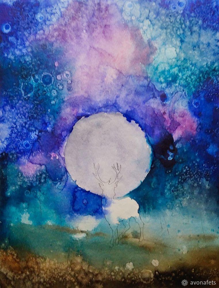 Рисуем акварелью волшебный лес с оленем, фото № 11
