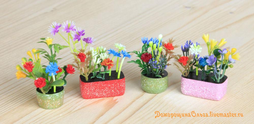 цветочная миниатюра, миниатюра своими руками, украшаем кукольный домик