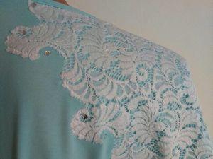 Вариант обновления одежды: декорируем кружевом трикотажную блузку | Ярмарка Мастеров - ручная работа, handmade