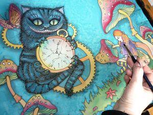 Новинка! Шёлковый шарф батик. Алиса в стране чудес. Натуральный шёлк. 190-50 см. Ярмарка Мастеров - ручная работа, handmade.