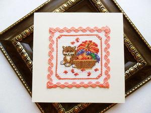 Щедрый аукцион. Набор открыток с котом, ручная вышивка крестом.. Ярмарка Мастеров - ручная работа, handmade.