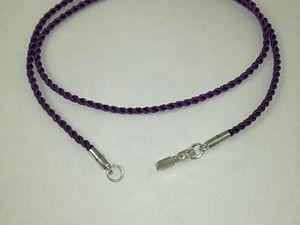 Только сегодня 850 рублей. Фиолетовый шнурок для крестика. Серебро 925 пробы.. Ярмарка Мастеров - ручная работа, handmade.