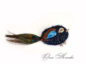 Новая птичка брошь из замши с лабрадором в наличии. Ярмарка Мастеров - ручная работа, handmade.