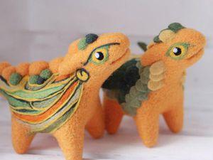 Милые фетровые драконы Алены Бобровой   Ярмарка Мастеров - ручная работа, handmade