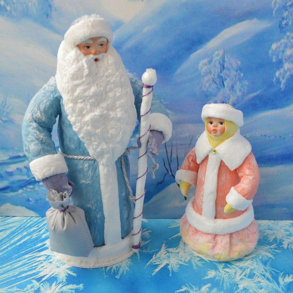 дед мороз, снегурочка, ватные игрушки, ватный дед мороз, ватная снегурочка, новый год 2017, сувенир на новый год