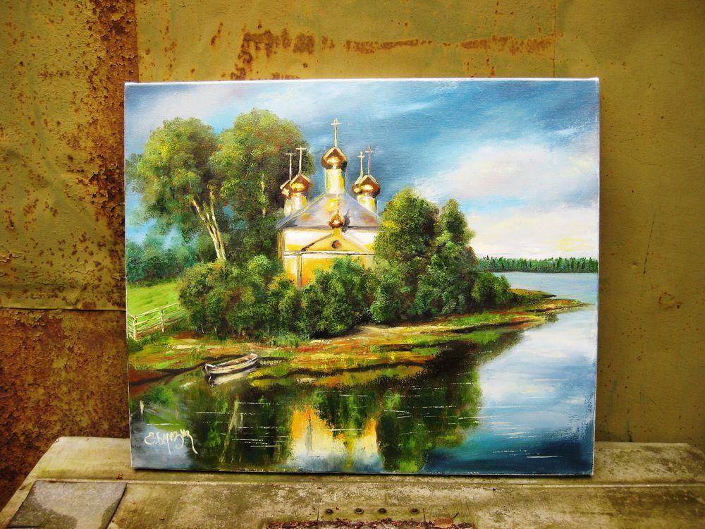 картина маслом, пейзаж маслом, карелия лето осень, пейзаж с церковью, художник елена березюк, картина для интерьера, картина в подарок