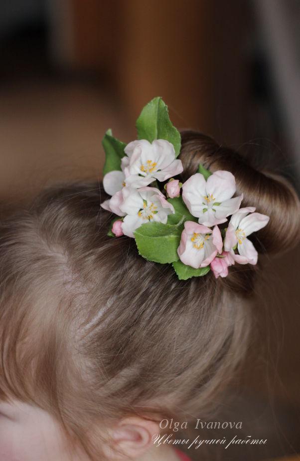 яблоня, цветы, весенние цветы, невеста, украшение для невесты, свадебные аксессуары, холодный фарфор, ботаническая скульптура