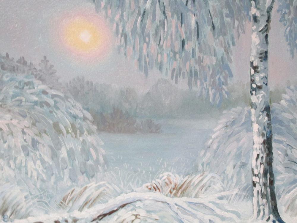 картина маслом, зимний пейзаж, авторская живопись, живопись маслом, красивая картина купить, зима, пейзаж маслом, снег, солнце, береза, зимний, картина для интерьера, авторская картина, ярмарка мастеров, купить в москве