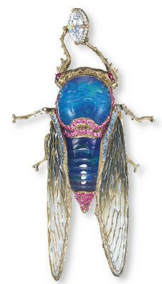 Cicada Dropped Brooch set with black opal and lapis lazuli by Wallace Chan, via Collecting Fine Jewels.