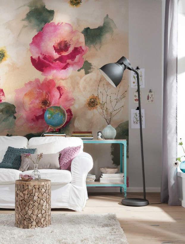 Фрески с цветами в интерьере фото
