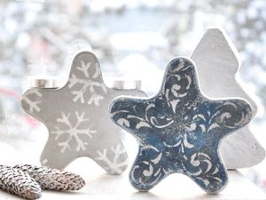 Creating Christmas Snowflake and Tree Toys out of Concrete. Livemaster - handmade