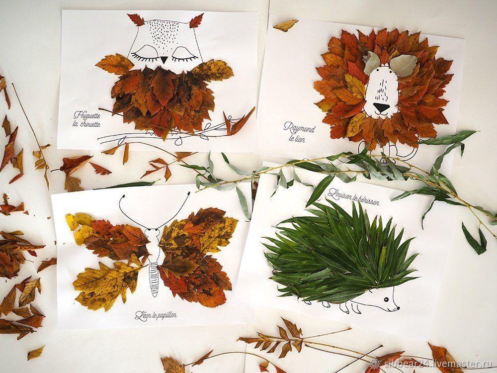 Поделки из листьев и цветов в картинках