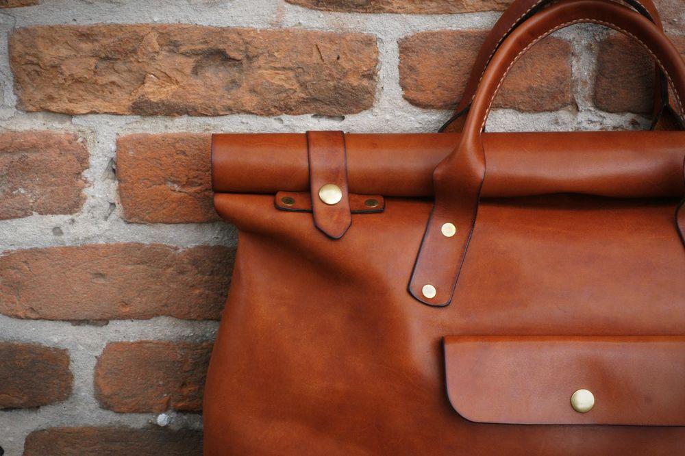 кожаная сумка, сумка-скрутка, сумка ручной работы, рыжий