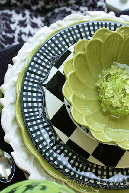 green, black & white table setting