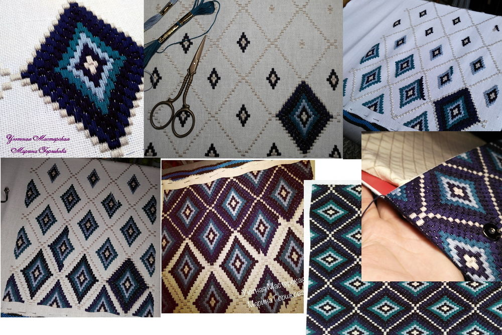 сумочка, процесс вышивки, клатч прямоугольный