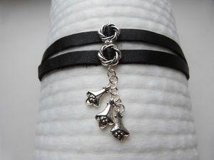 Simple Handmade Leather Bracelet With a Pendant. Livemaster - handmade