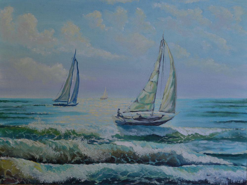 анна кшановская, картина, морская регата, регата, море, морской пейзаж, яхты, доставка, волны, волна, лето, картину, блог, блогер, живопись маслом, масляная живопись