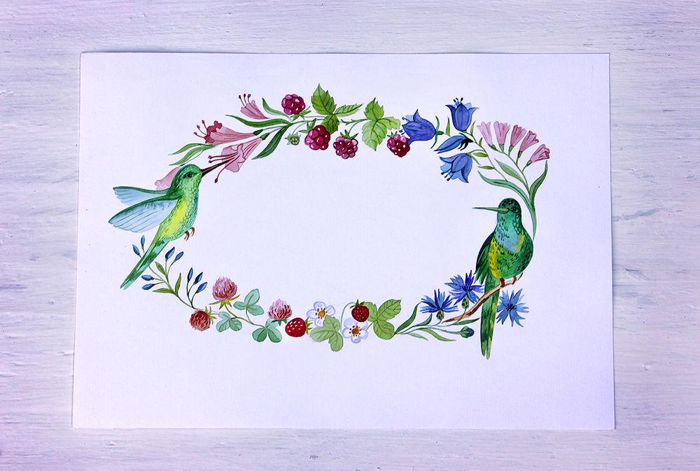 акварель, колибри