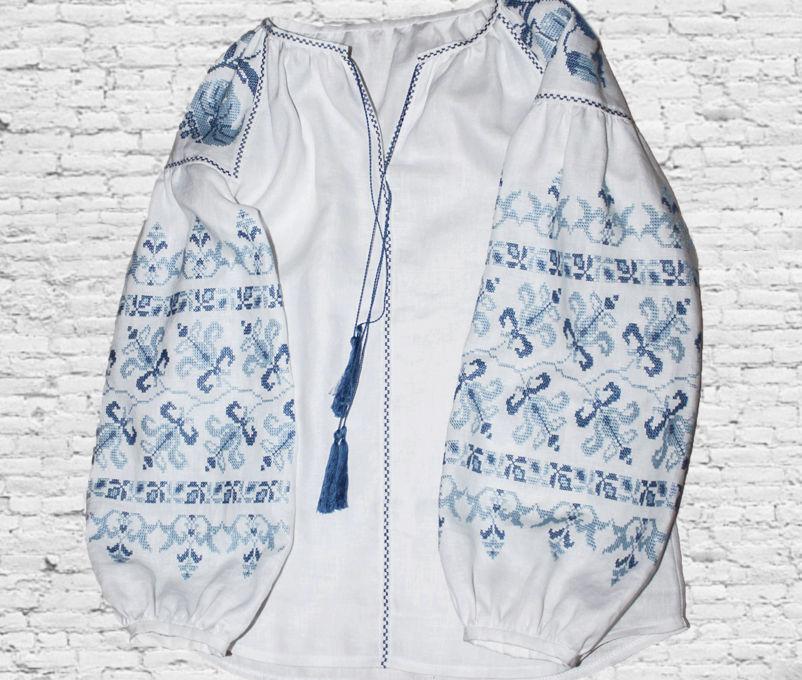 блуза, блузка бохо, льняная сорочка, вышиванка ручной работы, модная одежда