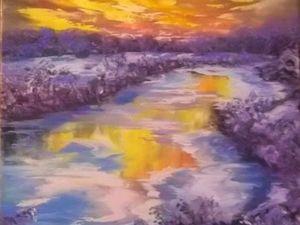 Как написать маслом зимний пейзаж с закатом. Ярмарка Мастеров - ручная работа, handmade.