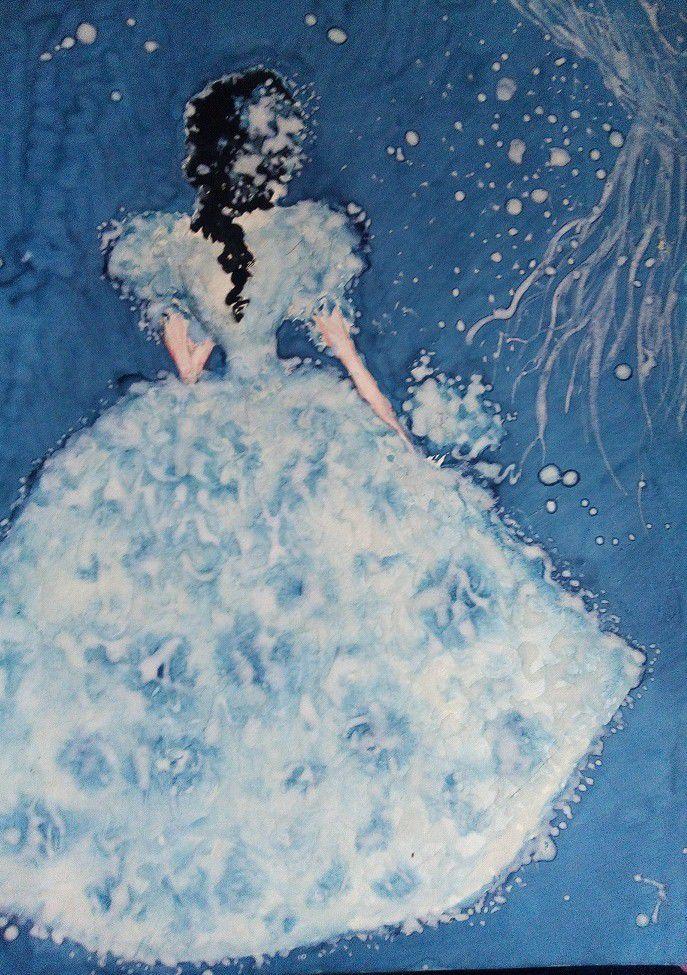 невеста, ультрамарин, синий, голубой, белый, подарок, красивая картина, eletart