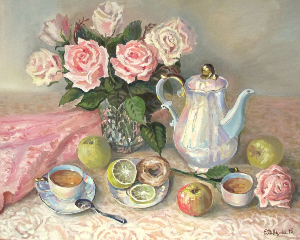 картина маслом, картина в подарок, картина для интерьера, натюрморт маслом, розы, натюрморт с цветами, яблоко, лимон, пирожное, чай, чаепитие, розовый цвет, перламутр, живопись маслом, авторская живопись, красивая картина купить, купить в москве, ярмарка мастеров, картина для настроения