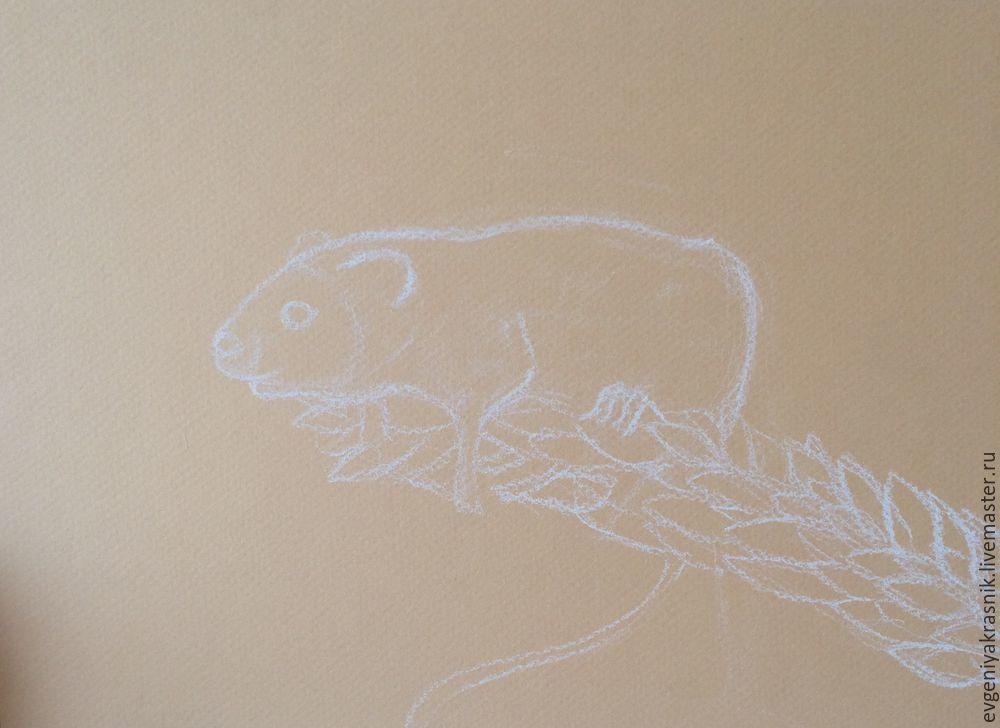 мышка пастелью