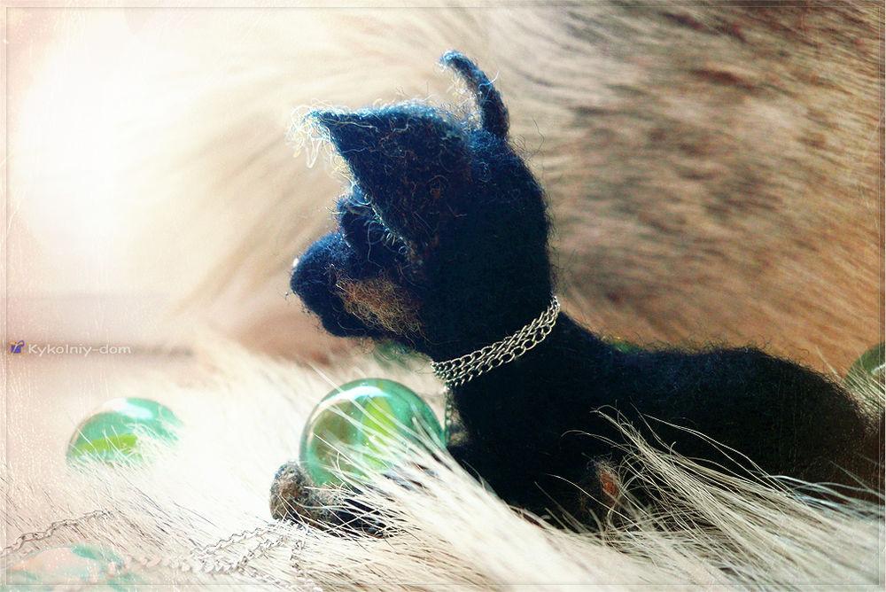 интерьерная текстильная игрушка из шерсти. Русский той - терьер (Russian toy terrier)