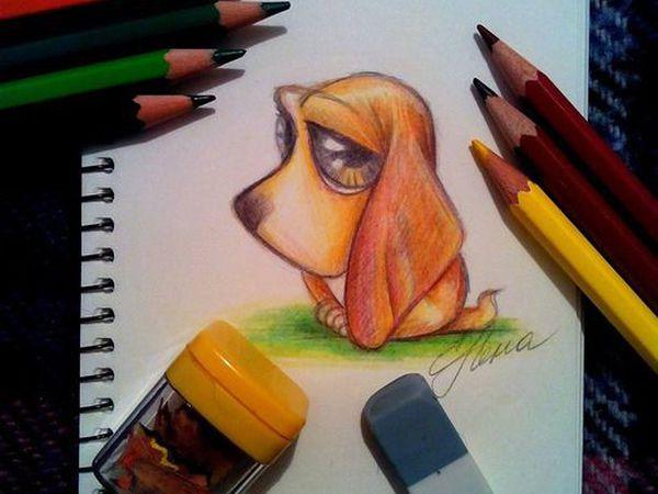 Мастер-класс: как нарисовать грустного щеночка цветными карандашами | Ярмарка Мастеров - ручная работа, handmade