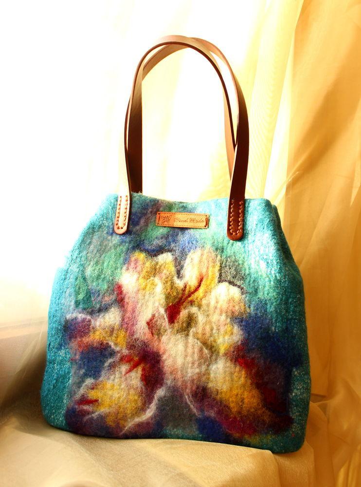 валяная сумочка, студия шерсти клок, войлочная сумка