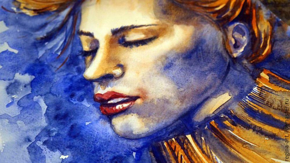 Рисуем акварелью портрет в холодных тонах «Лед и пламя», фото № 2