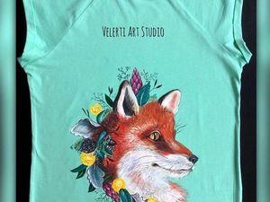 "Аукцион на Футболочку с Росписью ""Spring Fox"" 42-44 размер. Ярмарка Мастеров - ручная работа, handmade."