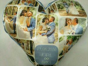 Подушка с фото в форме сердечка. Подарок на годовщину свадьбы.. Ярмарка Мастеров - ручная работа, handmade.