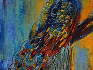 Пишем маслом картину «Павлин. Экзотическая птичка»: видеоурок. Ярмарка Мастеров - ручная работа, handmade.
