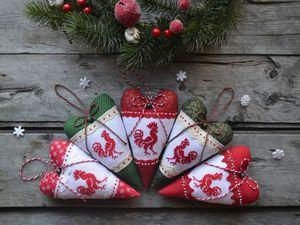 Шьем новогоднее сердечко с петушком. Ярмарка Мастеров - ручная работа, handmade.