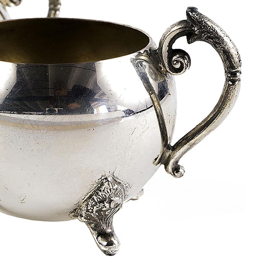 старинная сахарница, сервировка стола, сливочник, посеребрение, чаепитие, посуда из англии