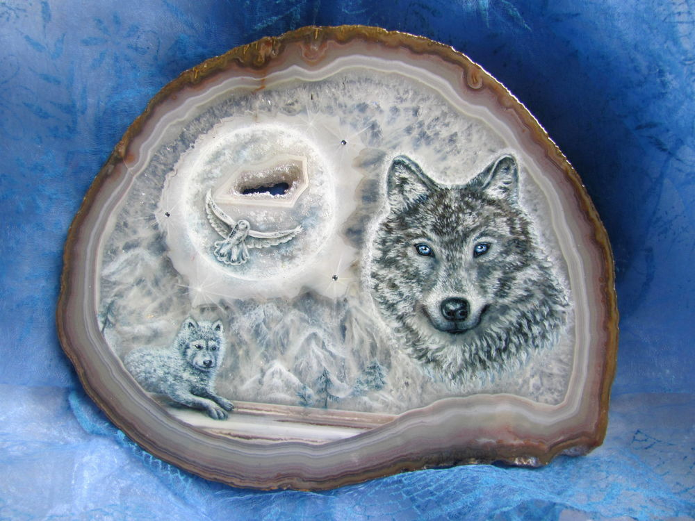 волк луна сова, роспись луна сова