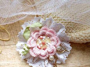 Вяжем брошь «Туманная роза». Ярмарка Мастеров - ручная работа, handmade.