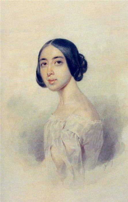Художник - Соколов П. Портрет Полины Виардо 1844 год.