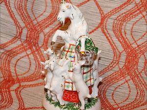 Коза и семеро козлят, ЛФЗ. Фарфоровая статуэтка. Ярмарка Мастеров - ручная работа, handmade.