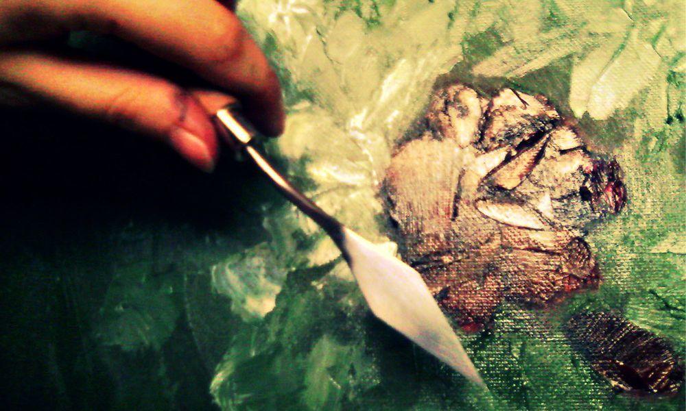 роза, картина маслом, масляная живопись, масляные краски, мастихин, цветы