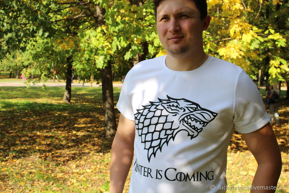 сублимация, перенос рисунка на ткань, футболка, мужская футболка, зима близко