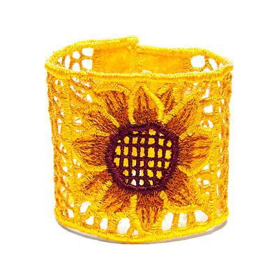 S purple sunflower embroidered cuff bracelet - so vibrant and Yellow.