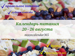Календарь питания 20-26 августа. Ярмарка Мастеров - ручная работа, handmade.