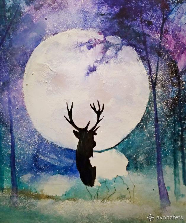 Рисуем акварелью волшебный лес с оленем, фото № 17